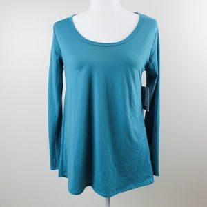 NWT LuLaRoe Small Teal Lynnae Long Sleeve Shirt
